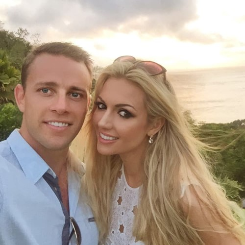 Rosanna Davison and husband at Constance Lemuria Seychelles