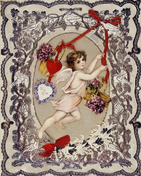 A Victorian Valentine's Day card from 1870 featuring Cupid/Source: fiveminutehistory.com