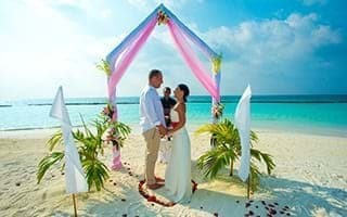 A tropical wedding banquet