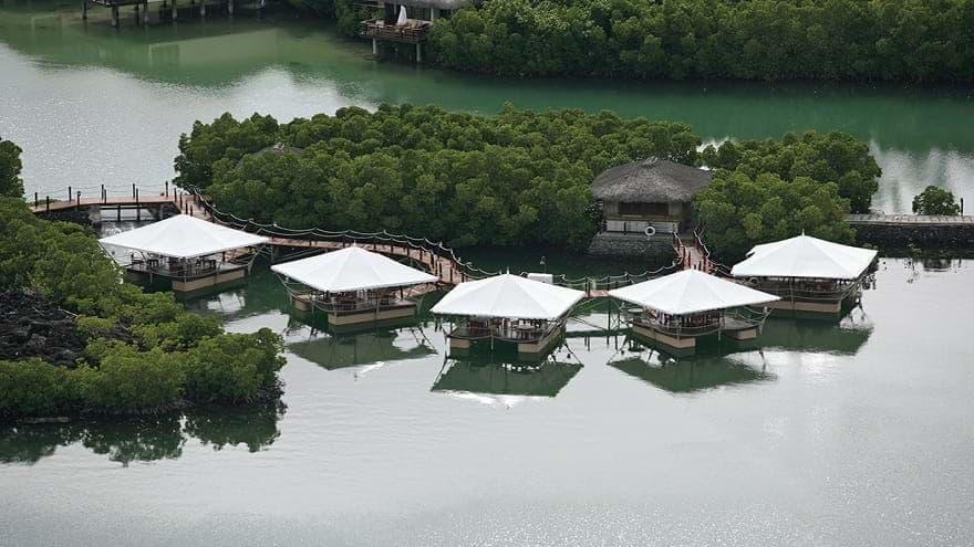 Aerial inspiring view of  Le Barachois restaurant